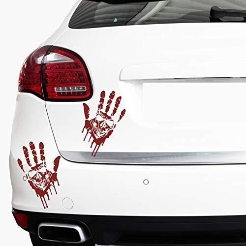 Finest Folia 2 Blutige Hände je 22cm Blutspuren Aufkleber Auto Sticker Frontscheibenaufkleber ((K014) 2er Set Blutige Hände Totenkopf)