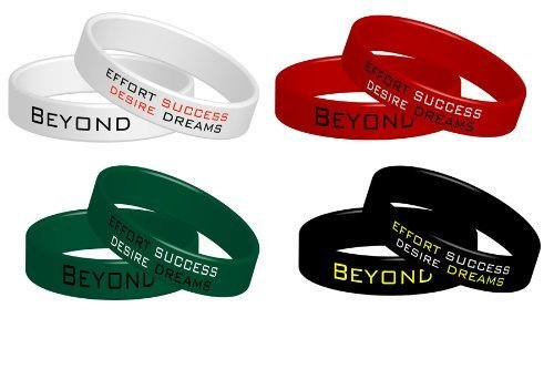 Beyond Dreams 4 Pulseras de Fitness Pulseras elásticas de Silicona Motivación Poder | Juego de Pulseras elásticas de Colores