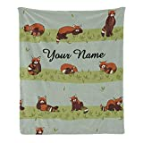 CUXWEOT Custom Blanket with Name Text,Personalized Cute Red Panda Super Soft Fleece Throw Blanket for Couch Sofa Bed (50 X 60 inches)