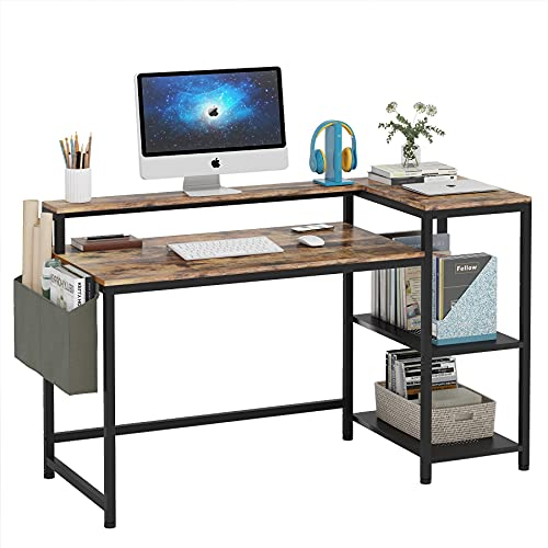 """Moan Computer Desk with Storage Shelves, 55"""" Office Desk with Monitor Stand, Studying Writing Table Workstation with Storage Bag, Rustic Brown"""