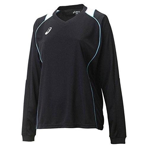 [アシックス] バレーボール シャツ 長袖プラクティスシャツ XW6419 [レディース] ブラック/ブルーアトール 日本 XF (日本サイズ2L相当)