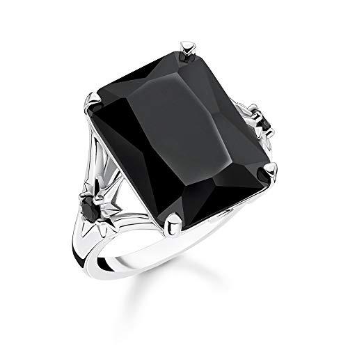 Thomas Sabo TR2261-641-11-56 Damesring, steen, zwart, groot met sterren, 925 sterling zilver