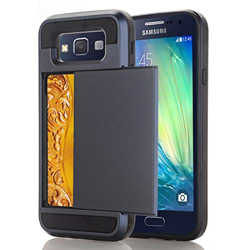 Samsung E5 Hoesje Case, slanke portemonnee kaartsleuf houder schuiven verborgen zak dubbele laag zware bescherming robuuste harde shell Hoesje Case Case voor Galaxy E5 5.0inch, Samsung E5 5.0inch, 14