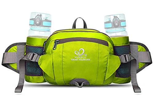 WATERFLY Gürteltasche mit Flaschenhalter, Gurt Verstellt Bauchtasche Hundetraining Handyfach Wasserdicht Hüfttasche für Wandern Reise Camping (Hellgrün)