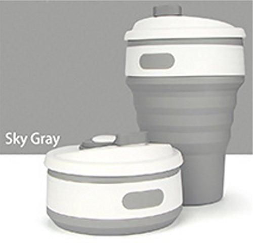 LLQ Silikon Kaffeetasse, Klappbecher mit Deckel, Faltbare Tragbare Silikonbecher für Unterwegs, Camping, 350ml