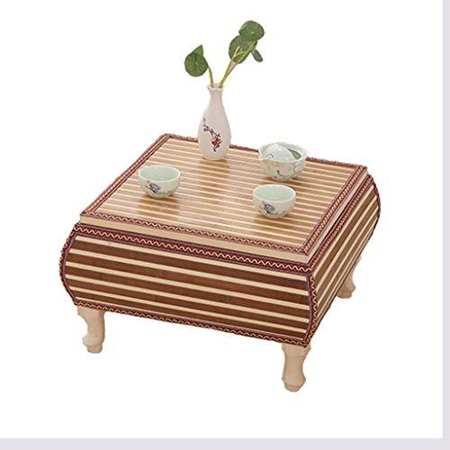 Tables basses Meubles Salon Rotin Chambre Carrée Baie Vitrée Solide en Bois Chambre À Coucher Lit Bureau D'ordinateur Tables (Color : Wood, Size : 60 * 60 * 30cm)