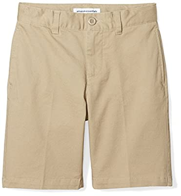 Amazon Essentials Kids Boys Woven Flat-Front Khaki Shorts, Khaki, 10 Regular