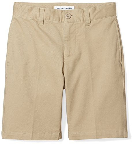 Amazon Essentials Kids Boys Woven Flat-Front Khaki Shorts, Khaki, 8 Regular