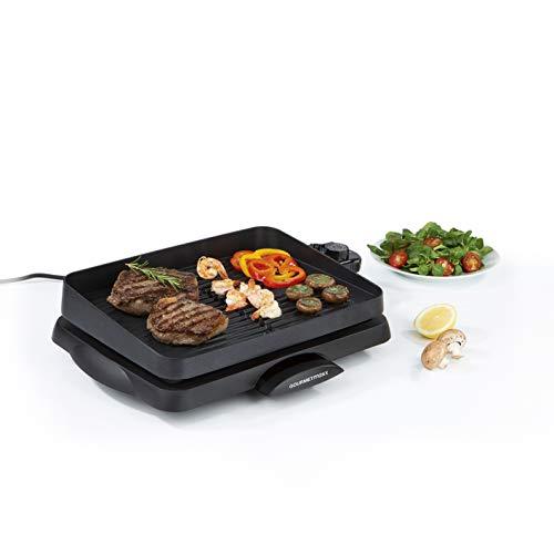 GOURMETmaxx elektrischer Tischgrill mit Aluguss Grillfläche | Rauchfrei geeignet für Innen- und Aussenbreich, Antihaftbeschichtet und mit einer Fettauffangschale |1500W [schwarz]