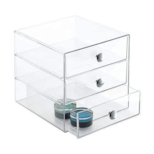 InterDesign ladenkastje | 3 laden van resistent acryl | Afmetingen: 16,5 x 16,5 x 16,5 cm