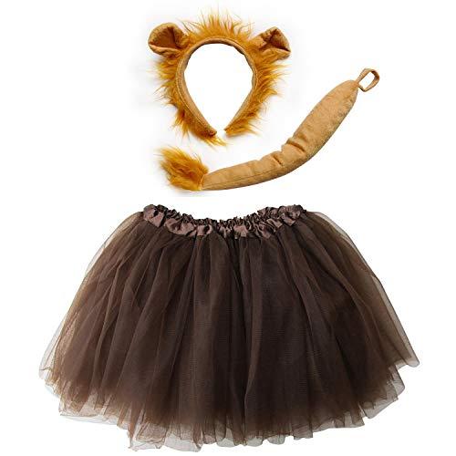 So Sydney Kids Teen Adult Plus Tutu Skirt, Ears, Tail Headband Costume Halloween Outfit (XL (Plus Size), Lion Brown)
