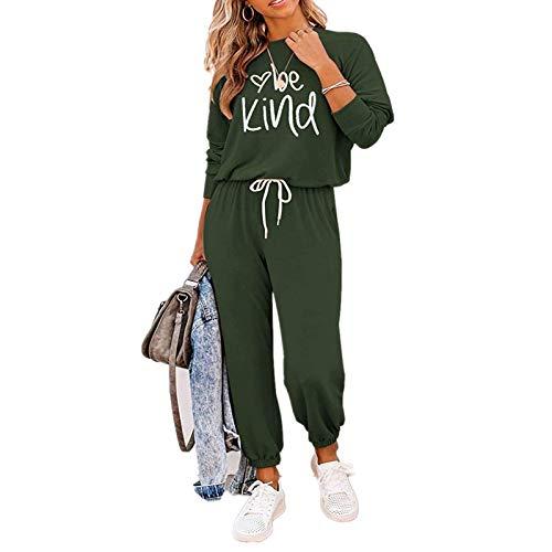 2 szt. damski dres domowy zestaw z długim rękawem okrągły sweter topy długie spodnie spodnie dresowe dla pań duży rozmiar odzież sportowa jogging odzież sportowa top i spodnie do biegania zestaw S-XXL, Army Green-1, S
