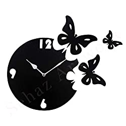 Sehaz Artworks Butterfly Black Decorative Wall Clock Non Ticking Silent - 10 Inch Quartz Battery Operated Round Easy to Read Home/Office/Kitchen/Bedroom/Hall Way/Classroom Decor Clock