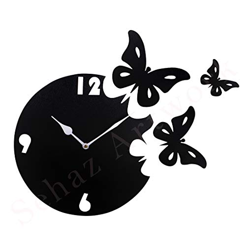 Sehaz Artworks Moon Butterfly MDF Wood 10 inch Designer Wall Clock for Home and Kitchen Wall Decoration