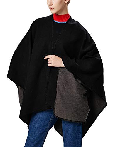 Aivtalk Damen Einfarbig Warm Poncho Cape Umhang Schal für Herbst Winter - Elegant und Chic - Schwarz 130x150cm