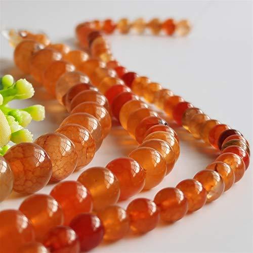 PrittUHU Venas de Piedra Natural Agates Beads Charms Flow Bead Onyx Piedras para Bricolaje Hombre Joyería Mujer Pulsera (Color : Orange Red, Item Diameter : 6mm (60 62pcs))