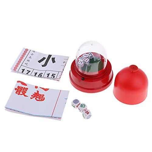 Baoblaze 2IN1 Klassisches Chinesisches Glücksspiel Partyspielzeugbündel Mit Automatischem Würfelbecher