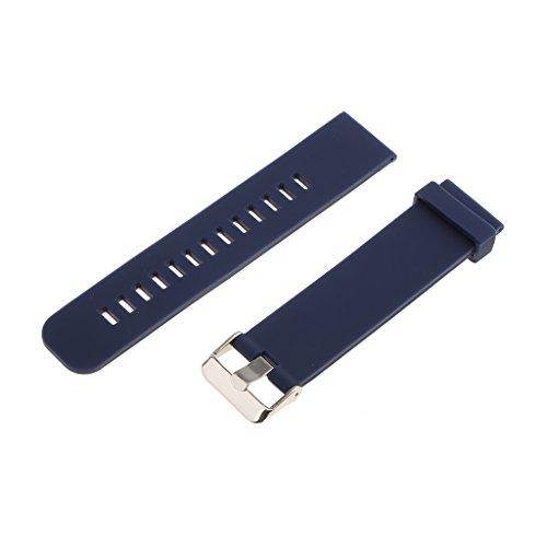 Bonarty Reemplazo de Silicona Suave Impermeable Correa de Reloj Deportivo Cierre de Despliegue 18-24 Mm - Azul Oscuro 20 mm