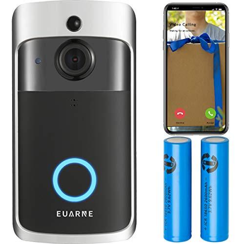 EUARNE WiFi Video Doorbell Wireless Door Security Battery Camera, PIR Motion Detection, Night Vision 1080P Two-Way Audio.