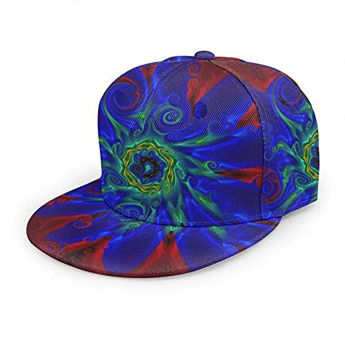 Oaieltj Gorra de béisbol unisex para mujer y hombre, ajustable, con visera plana, sombrero de hip hop, Psychedelic Trippy Flower Floral Azul Rojo, Talla única