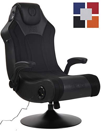 CLP Sillon Gaming Nevers con Entrada USB Tapizada En Simil Cuero & En Microfibra I Silla Gamer con Sistema De Sonido I Color: Negro/Negro