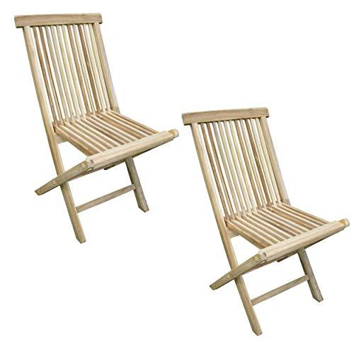 CHICREAT - Juego de dos sillas plegables de jardín de madera de teca