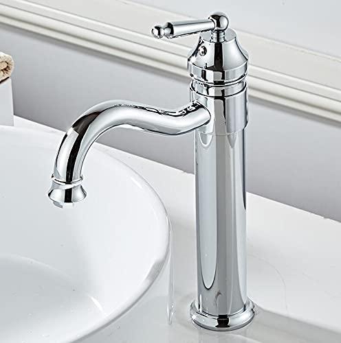 Grifo Grifo de lavabo blanco Latón macizo Bronce frotado con aceite Cascada Grifo de lavabo de baño Grifo mezclador de caño redondo grande Torneira Banheiro