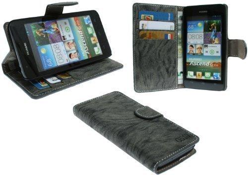ENERGMiX Elegante Buch-Tasche kompatibel mit Huawei Ascend G510 in Anthrazit Wallet Book-Style