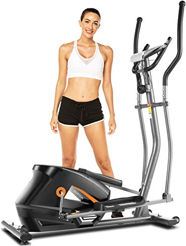 ANCHEER Elliptical Machine for Home Use, Elliptical Exercise Machine Trainer with Large Pedal & LCD Monitor Quiet Smooth Driven Max Weight Capacity 330lbs