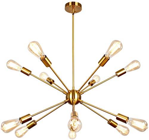 PUZHI HOME Sputnik Chandelier 12 Lights Chandelier Modern Ceiling Light Fixture Brushed Brass Semi Flush Mount Ceiling Light Modern Pendant Light for Kitchen Bathroom Dining Room Hallway