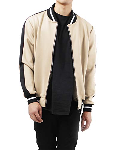 Ma Croix Mens Premium Track Bomber Jacket Stripe Two Tone Lightweight Slim Fit Full Zip Up Top (Large, fj0180_Sand)