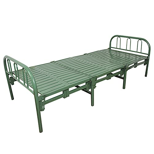 HOUSEHOLD Metal folding bed spare guest bed, Portable travel camping bed adult single bed platform, Heavy-duty steel bed frame office lunch break bed, Accompanying bed dormitory bed