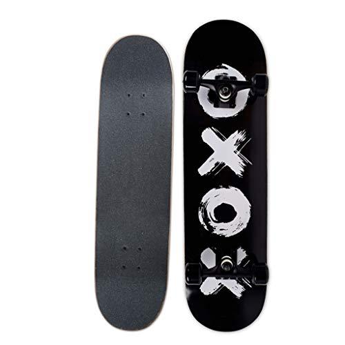 31Inch Professional Skateboard Komplettes Twin Tip Tricks Skateboard für Erwachsene und Kinder Anfänger Maple Deck Max Load 150kg