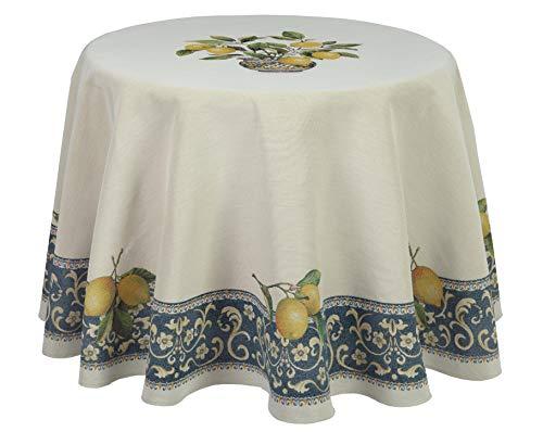 Bezaubernde Gobelin-Tischdecke, Landhaus mit Zitronen, Lima, elegant und zeitlos (Rund 180 cm)