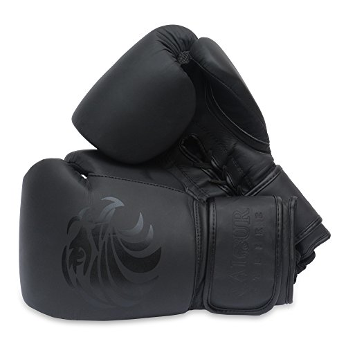 Valour Strike Pro Boxhandschuhe Premium Leder | Für Sparring, Boxen, Kickboxen, MMA, Kampfsport, Muay Thai, Faustschlag, Kampfsport (All Blacks)