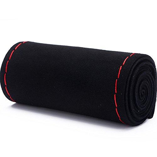 XuanMax DIY Gamuza Funda para Volante Coche Cosida Universal 38cm Coser a Mano Respirable Nubuck Cubierta del Volante Envoltura Protectora Antideslizante Cubre Volante Piel - Línea Rojo