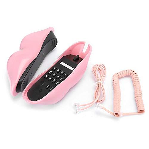 nulala Landline Telephone European Style Home Telephone Fashionable Pink Lips Shape Desktop Landline Cellphone(Pink)