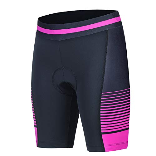 Womens Cycling Compression Shorts With 3D Padded Ride Bike Shorts With Wide Waistband(Pink,L)