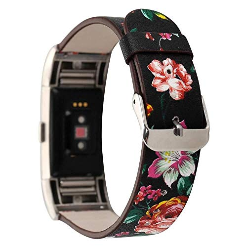 ICHQ Leichtes, blumiges Lederarmband mit verstellbarem Ersatz für Fitbit Charge 2 Smart Fitness...