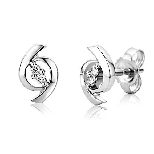 Miore Ohrringe Damen, Schmuck Weißgold rhodiniert, Ohrstecker mit Diamanten weiß brilliantschliff 9 Karat / 375 Gold
