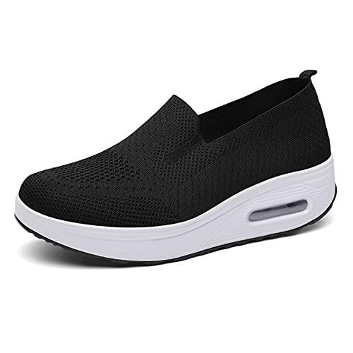 [WS-DOMUS] [ワールドシードゥモス]船型底ナースシューズ レディース ウォーキングシューズ ダイエットシューズ 厚底 スニーカー 看護師 軽量 介護靴 安全靴 作業靴 (ブラック, measurement_22_point_5_centimete