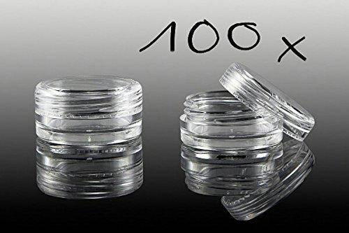 NEW Nail Art 100 x Boîte Vide Avec Couvercle À Visser, pot transparent boîte de rangement Boîtes accessoires