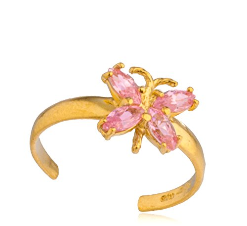 JOTW 10k Yellow Gold Butterfly with Pink CZ Stones Toe Ring (GO-1010) 14k Love Toe Ring