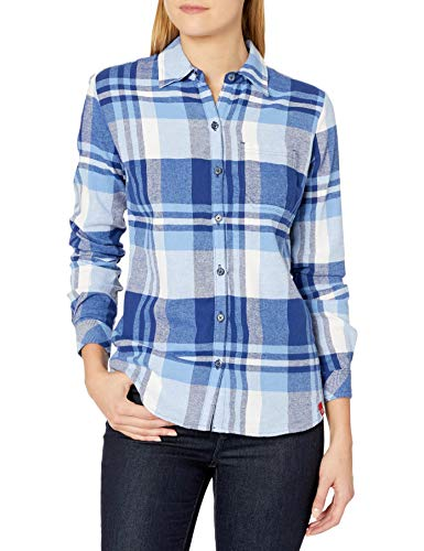 Dickies Women's Long-Sleeve Flannel Shirt, Lapis/Opaque White Plaid, Small