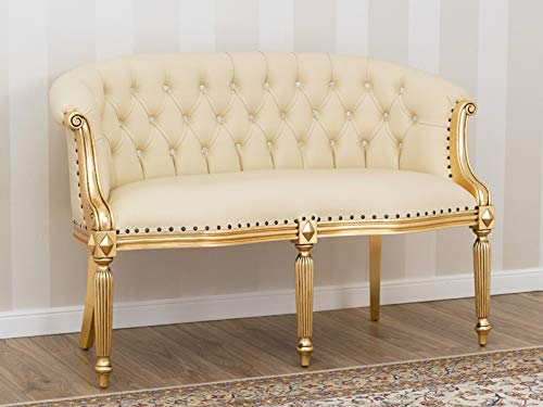 SIMONE GUARRACINO LUXURY DESIGN Sofá Isabelle Estilo Barroco Francese 2 plazas Color Hoja Oro Eco-Piel Champagne Botones Crystal Sw