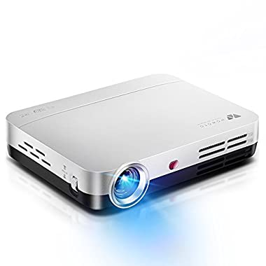 WOWOTO H9 Video Projector, 3500 lumens 3D DLP Projector 1280x800 Support 1080P Full HD , Android 4.4 OS , with Keystone, HDMI, WIFI & Bluetooth
