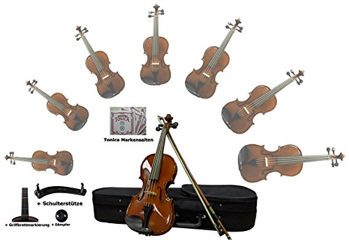Sinfonie24 Geige 4/4 für Einsteiger, Ebenholz Griffbrett, akustisch, Set mit Koffer, Bogen, Kolophonium, Griffbrettmarkierung, Schulterstütze, Braun Palisanderfarbe, spielfertig mit Markensaiten