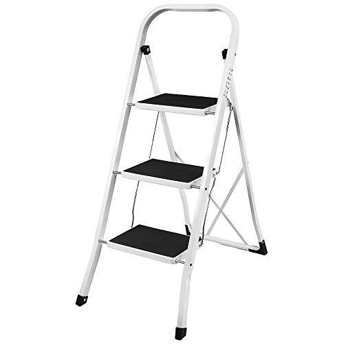 3 Stufen Klappstufen Trittleiter Klappbar Leichte Stehleiter Anti-Rutsch-Schritte für die Reinigung der Küche im Home Office Dekorieren Lackieren 150 kg max Belastung
