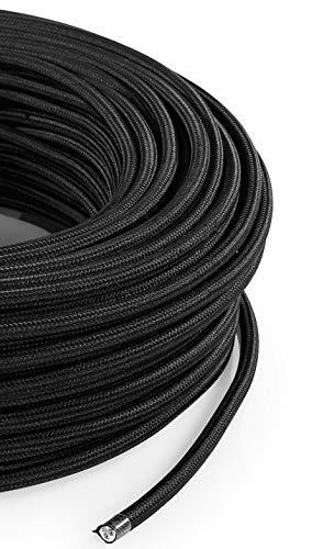 Textilkabel für Lampe, Stoffkabel 3-adrig (3x1,50mm²) - Schwarz. Made in Italy (5 Meter)