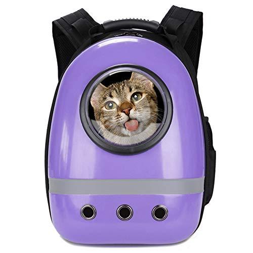 Glenmore Mochila para Mascotas Aire Libre Mochila Portátil para Mascotas Bolsa de Viaje Cápsula Espacial Transparente Transpirable Mochila Delantera Paquete, Púrpura